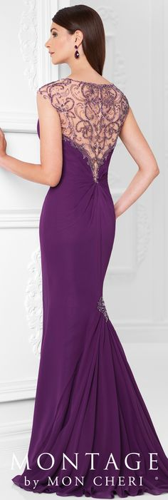 Formal Evening Gowns by Mon Cheri - Spring 2017 - Style No. 117906 - purple chiffon evening dress with beaded illusion neckline and back