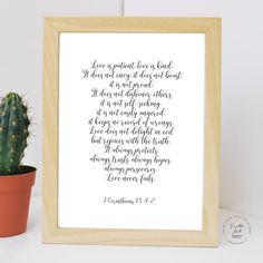 Love is patient, love is kind. It does not envy. 1 Corinthians NIV, Bible Verse, Wall Art Decor, Digital Print by FaithArtShoppe Niv Bible, Bible Verses, Wall Art Decor, Wall Art Prints, Mug Printing, Love Never Fails, Love Is Patient, Envy, Digital Prints