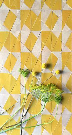 Yellow Tile, Yellow Art, Floor Design, Tile Design, Painting Tile Floors, Luxury Flooring, Unique Tile, Room Tiles, Wall And Floor Tiles