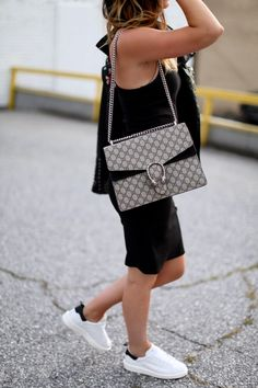 Black leather jacket, chic black dress + glitter sneakers via For All Things Lovely For All Things Lovely, Gucci Sunglasses, Blank Nyc, Lovely Dresses, Golden Goose, Outfit Of The Day, Black Leather, Leather Jacket, Glitter