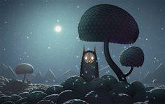 Watermark's Tess Monash. (illustration, art, digital, editorial, quirky, creature, boogeyman, tree, night, full moon, stars, glow)