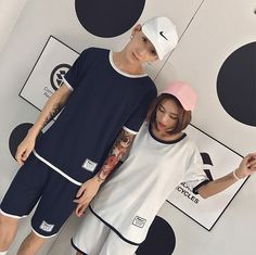 CC01130 Casual couples sportswear summer Korean style sets