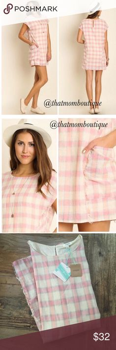 Abigail Pink Picnic Dress size- L Such a fabulous dress! Pink plaid with frayed detailing. Two front pockets fully lined. 65%polyester 35% cotton Dresses Mini
