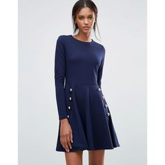 Club L Miltary Detailed Crepe Skater Dress ($27) ❤ liked on Polyvore featuring dresses, navy, navy dresses, navy blue skater dress, blue dress, blue button dress and fit flare dress