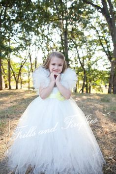 Ivory Flower Girl Tutu Dress with Yellow Satin Flower Sash by Frills and Fireflies, $95.00