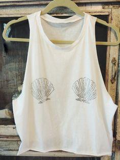 MERMAIDS…they're real. PRE-ORDER white muscle tank seashell swarovski seashell shirt….