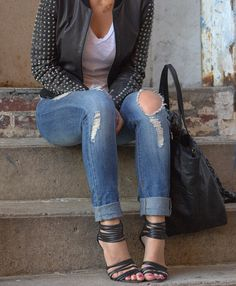ripped jeans, studs