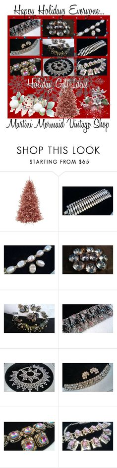 """""""Happy Holidays Everyone..."""" by martinimermaid ❤ liked on Polyvore featuring Martha Stewart, Whiting & Davis, Selro, Schiaparelli and vintage"""