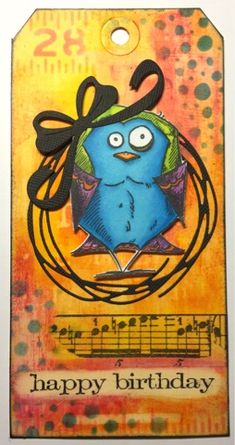 Siv's place: Bird Crazy tag with Distress Crayons background