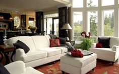 Living Room:Cozy Living Room Decor Charming And Cozy Living Room With White Futon Furnishings And High Glass Bay Windows
