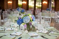 Mason jar purple, blue, green flowers | All of the mason jars in the beautiful hydrangea centerpieces are from ...