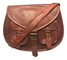 103c120720b Vintage Distressed Brown Leather Saddle Bag Hand Made Cross Body Purse
