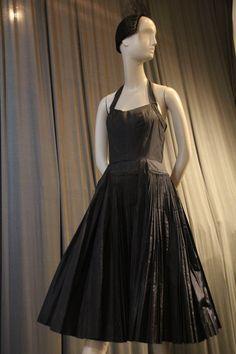 d1a0e4c6c9e 1950s James Galanos Couture Knife Pleated Silk Taffeta Halter Cocktail Dress