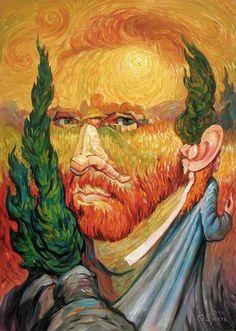 Nessas pinturas, o artista ucraniano Oleg Shuplyak, mestre nas imagens com ilusão de ótica, retrata personagens ilustres da história, compon...