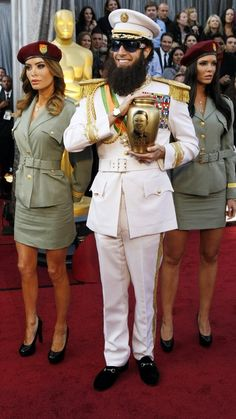 """Sacha Baron Cohen as """"General Aladeen"""" from THE DICTATOR arrives at the 84th Academy Awards."""