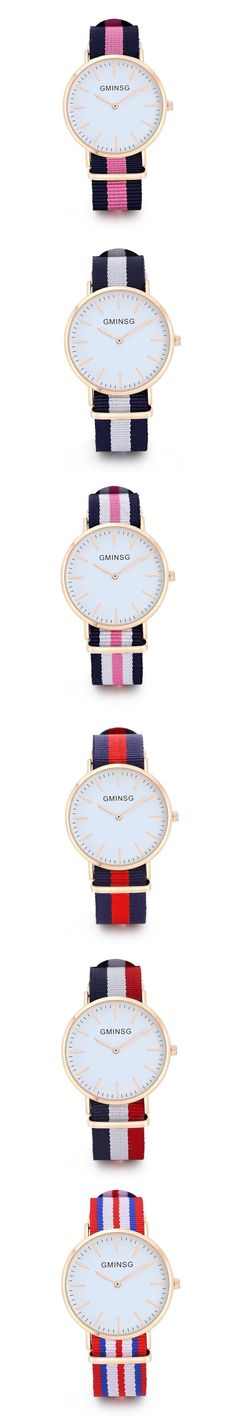GMINSG Luxury Brand Rose Gold Silver Men Women Watches Leather Nylon Quartz Wrist Watch Unisex Clock Relogio Masculino