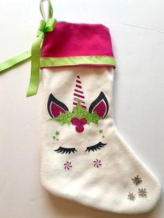 Christmas Stocking Unicorn | Etsy Stocking Decorating, Decorating Ideas, Decor Ideas, Craft Ideas, Christmas Stockings, Norwegian Christmas, Christmas Unicorn, Unicorn And Glitter