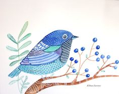Blue Bird with Blue Berries Christmas Gift by sublimecolors