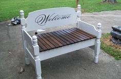 Repurposed twin bed. Very cool.