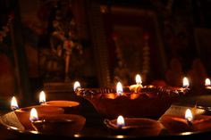Diyas oil lamps are a tradition on Diwali, the festival of lights