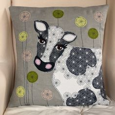 Sewing Cushions Cow handmade Applique Cushion by LucyLevenson on Etsy, - Free Motion Embroidery, Applique Embroidery Designs, Applique Patterns, Quilt Patterns, Machine Embroidery, Applique Ideas, Machine Applique, Applique Cushions, Sewing Pillows