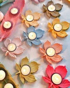 1 silicone mold candle holder leaf for plaster porcelain SOAP Fimo resin wax Fimo polymer clay candle holder Diwali Decoration Items, Diya Decoration Ideas, Clay Candle Holders, Candle Holder Decor, Diwali Diy, Diwali Craft, Diy Crafts For Gifts, Fall Crafts, Paper Crafts