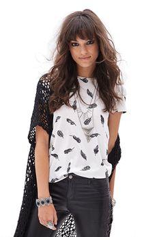 Feather Print Tee | FOREVER21 - 2000087208