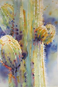Saguaro Lightcatcher by Yvonne Joyner Watercolor ~  x