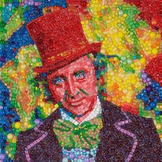 San Francisco Artist Immortalizes Gene Wilder as Willy Wonka In a Candy Mosaic Portrait