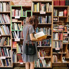Loose dress in bookshop