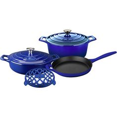Rustle up all sorts of mouth-watering dishes with La Cuisine's PRO Enameled Cast Iron Cookware Set. This set includes the covered saute, covered round casserole and open skillet with cast iron handles. La Cuisine's PRO cast iron cookware is crafted using Enameled Cast Iron Cookware, Cookware Set, Black Enamel, High Gloss, It Cast, Sapphire, Skillet, Products, Casseroles