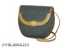 Auth Christian Dior Gray PVC Brown Leather Shoulder Bag Hand Purse Free Ship! #ChristianDior #ShoulderBag