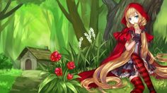 Red Hood - blond, blonde hair, blond hair, anime, red, cute, sweet, forest, dress, little red riding hood, female, lady, adorable, bread, maiden, long hair, nice, scene, blonde, beauty, beautiful, lovely, kawaii, fairy tales, girl, pretty, house, red riding hood, green, home, anime girl