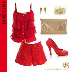 Um 2013 cheio de Paixão, vista vermelho e arrase na noite de ano novo! Dica/ Blusa e Shorts Vermelho