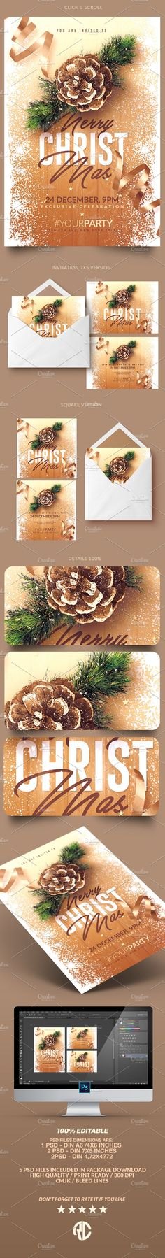 Awesome Christmas Invitations - Psd Package - Templates                                                                                                                                                                                 More