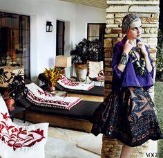 Donna Karan New York blouse and skirt - Mario Testino's L.A. Home via Vogue
