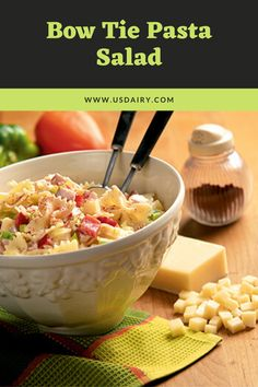 For a delicious summer side, try this Bow Tie Pasta Salad recipe. Milk Recipes, Side Dish Recipes, Healthy Recipes, Side Dishes, Healthy Foods, Yummy Recipes, Main Dishes, Mexican Pasta, Salads