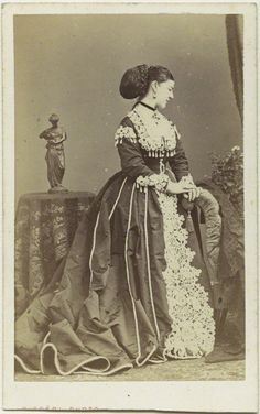 Lady Susan Charlotte Catherine Pelham-Clinton (1839-1875) UK by Disdéri in 1867. She was a mistress of Edward VII (Albert Edward) (1841-1910) UK. Susan was a bridesmaid to his sister Princess Victoria's (1840-1901) UK wedding in 1858 & then married the unstable Lord Adolphus Vane-Tempest (1825-1864). She became Edward VII's mistress in 1864 after her husband's died & had  his illegitimate child in 1871. The baby's sex or fate is unknown-when Susan died at age 36 info on the child was lost.
