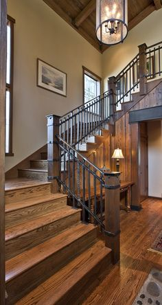 Nature inspired, the Rustic style is casual and offers relaxed living. Organic forms, warm textures, and distressed finishes are all brought together to create a rustic lodge or cabin-inspired home. Iron Stair Railing, Staircase Railings, Banisters, Staircase Design, Staircase Ideas, Railing Ideas, Steel Railing, Staircases, Iron Staircase