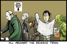 4/3/14  6:32p  All Aboard the Remake Train    ''Halloween'' ''Pinhead''   ''Wolfman'' ''Chainsaw Massacre'' ''Creature from the Black Lagoon''  wayneerratt.twitter.com