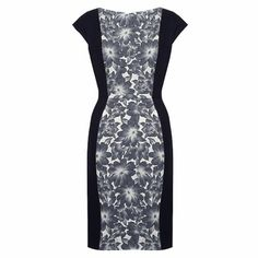 Willow Luxury Black Work Dress by Matilda & Quinn £299 available at PinstripeandPearls.com - A contrast business dress featuring black lightweight wool side panels and a striking floral jacquard contrast. The contrasting panels on this work dress provide for a flattering fit and elegant silhouette. http://www.pinstripeandpearls.com/women/work-dresses