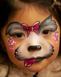 Simple face painting designs are not hard. Many people think that in order to have a great face painting creation, they have to use complex designs, rather then Girl Face Painting, Face Painting Designs, Painting For Kids, Paint Designs, Puppy Face Paint, Dog Face Paints, Animal Face Paintings, Animal Faces, The Face