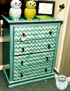 Painted in a custom color and Websters! I love my Royal Design Studio stencil!