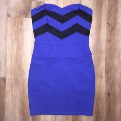 Peplum dress Blue & black peplum dress with zipper up the back. Love Culture Dresses