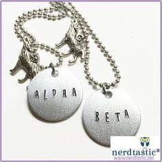 Teen Wolf Alpha Beta Omega BFF Necklace Set (Best Friend, Bestie, Couples Necklace, Nerdy, Geekery, Spernatural, Wolf Pack)