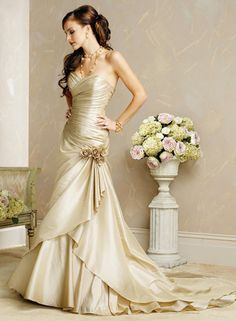 Champagne Taffeta Bridal Gown Wedding