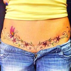 Ideas Tattoo Femininas Delicada Cintura For 2019 - tatoo feminina Waist Tattoos, Belly Tattoos, Stomach Tattoos, Mom Tattoos, Cute Tattoos, Body Art Tattoos, Cheryl Tattoos, Tatoos, Tummy Tuck Scar Tattoo