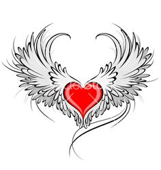 Red heart of an angel vector on VectorStock®