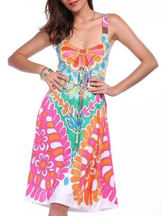 Ethnic Style Plunging Neck Sleeveless Printed Colorful Women's Dress