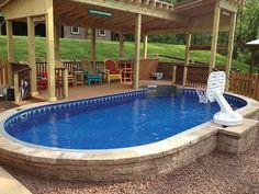 Discover 27 semi inground pool ideas for your inspiration. Browse photos of semi inground pools with deck. A collection of semi inground pool landscape ideas. Above Ground Pool Decks, Above Ground Swimming Pools, In Ground Pools, Jacuzzi, Oberirdischer Pool, Pool Backyard, Semi Inground Pools, Indoor Pools, Backyard Ideas